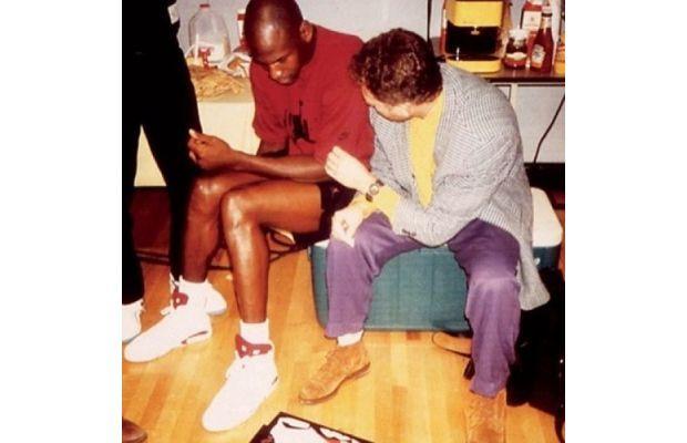 Michael Jordan and the great sneaker designer of all time, Tinker Hatfield. Mike Jordan in the Nike Air Jordan VI White/Maroon