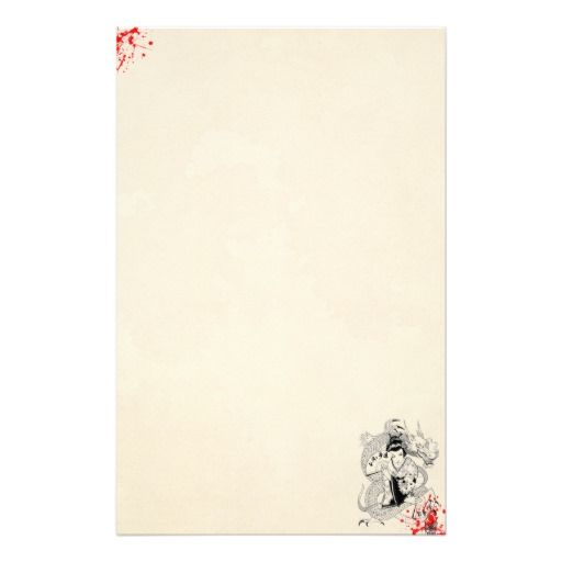 Blood splattered old paper geisha with fan dragon tattoo symbol personalized stationery