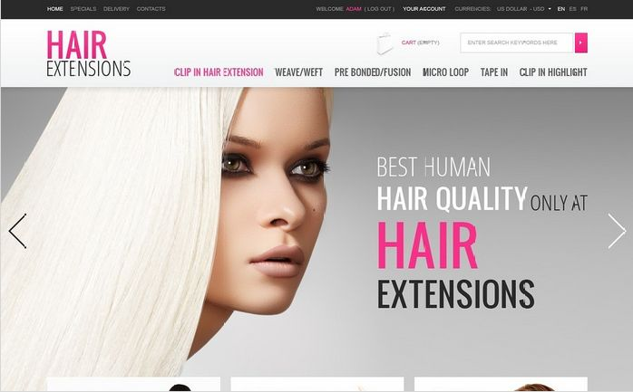 Hair Extensions PrestaShop Themes by Hermes