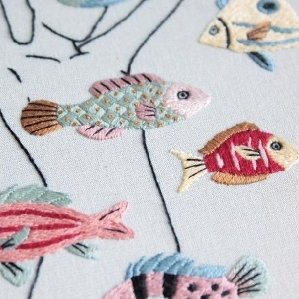 Love all the different stitches in this floss aquarium @clubedobordado #dmcthreads #dmcembroidery #Regram via @dmc_embroidery