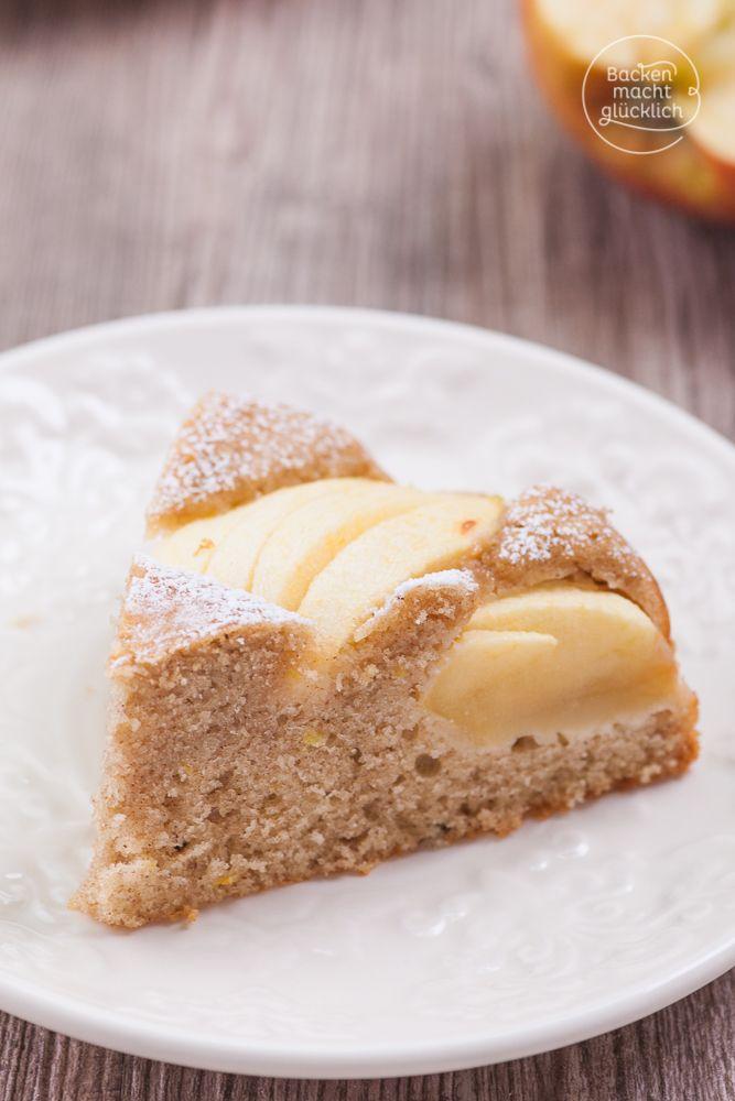 Gesunder, fettarmer, kalorienarmer Apfelkuchen, der sehr saftig, fruchtig und einfach lecker schmeckt