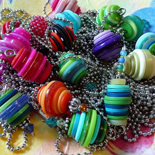 Button Stacker Pendants by chinamommy, via Flickr