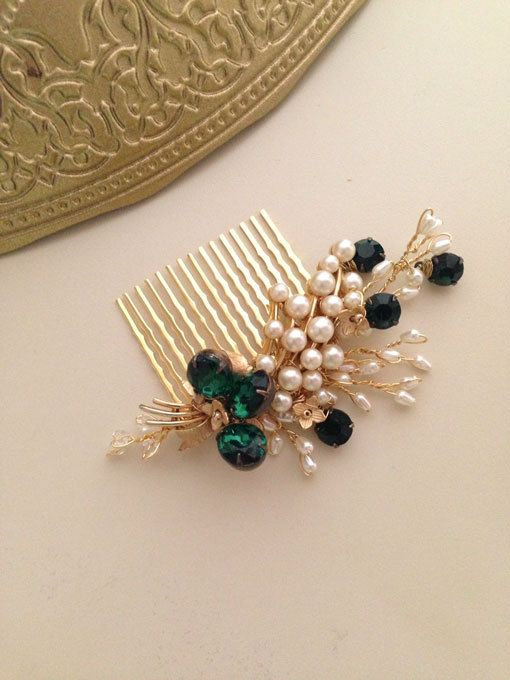 Emerald Gold and Pearls Bridal Hair comb vintage by amuandpri, $68.00