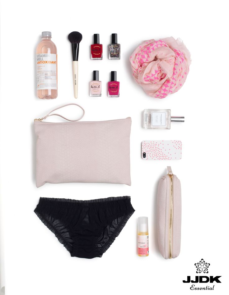 The JJDK Essentials SS16 | #pink #babypink #pastels #cosmeticbags #beautybags #nailpolish #lingerie #scarf #perfumes #brush #phonecase #vitamindrink