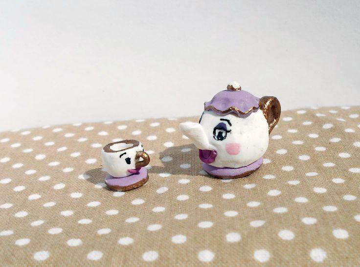 Beauty and the Beast teapot - miniature #miniature #shabby #chic #diy #handmade #disney #polymer #clay #polymerclay #cute #beautyandthebeast