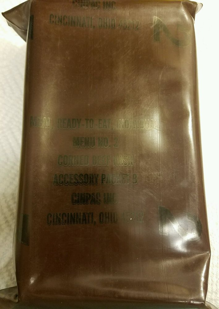 Vintage MRE Menu 2 Corned Beef Hash US Military Ration Meal Ready To Eat