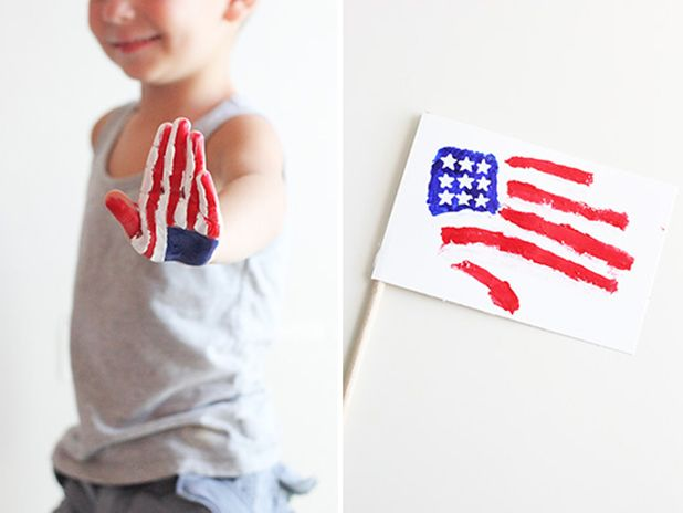 Cute Handprint Flag for 4th of July