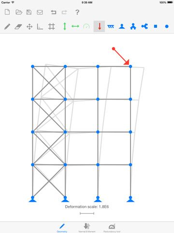 Sketch a Frame is an app where you can quickly draw a geometry and add forces and boundary conditions to visualize deflections, normal forces, moment distribution and normalised redundancy.