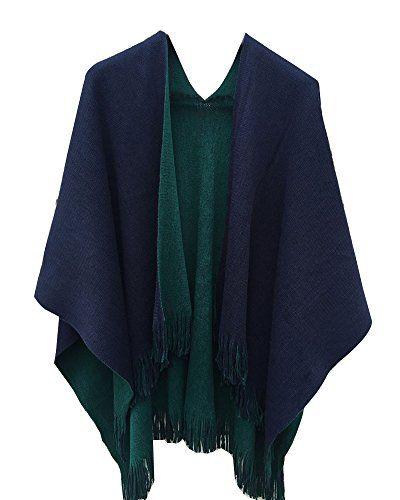 0d23633dea5 Cape De Femme Grande Taille Poncho Châle Cape Echarpe Chaud Manteau  Cardigans avec Fringe Vert