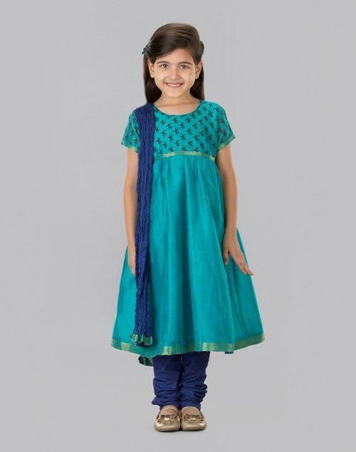 Buy Fabindia Turquoise Silk Cotton Printed Anarkali Churidar Set online - Fabindia.com