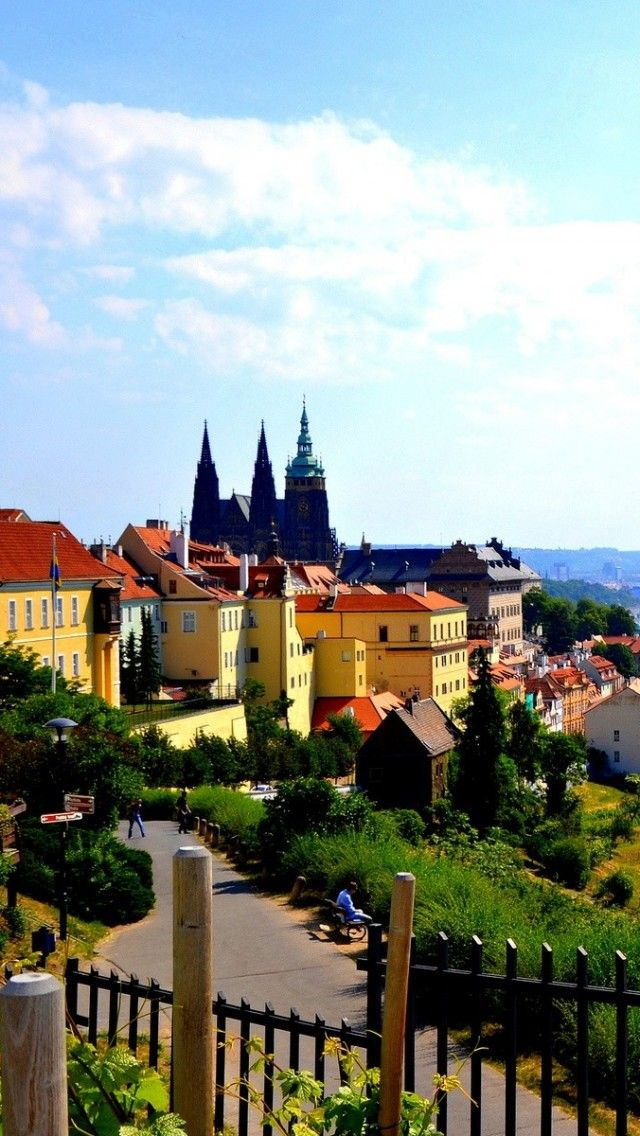 On a way to Petrin hill - view from the monastery walking to the castle in Prague..