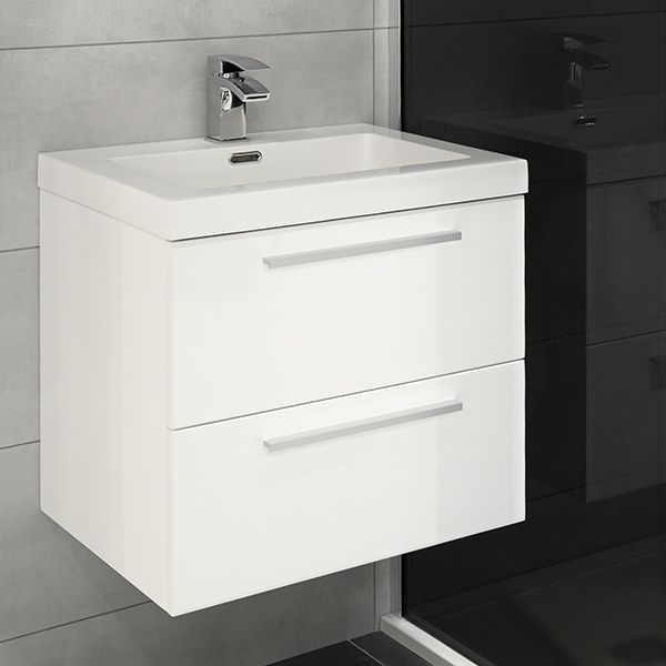 This distinctive Jordana Wall Hung Blum 2 Drawer Unit with Basin 53x43cm is finished in a stunning gloss white lacquer and is ideal for small bathrooms where storage is needed