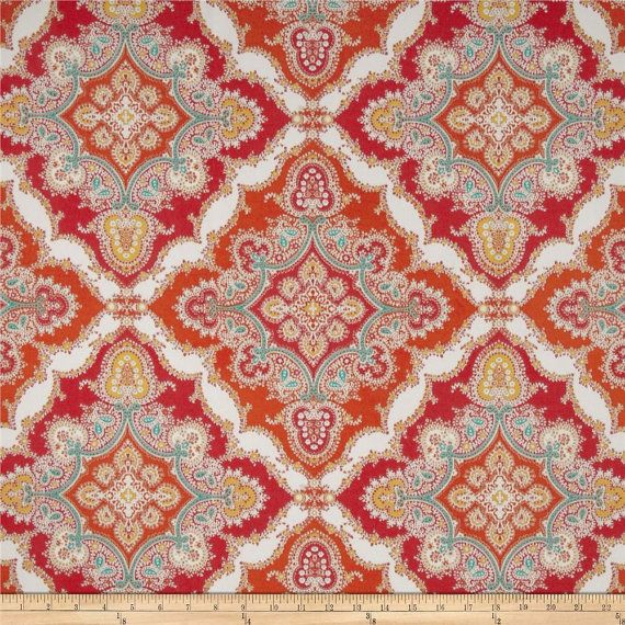 Red Orange Turquoise Yellow And White Medallion Pillow Covers In Kaufmann Indoor Outdoor Zoie