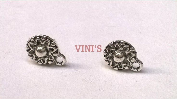 SH21 Antique Silver stud base with loop Stud size 10mm, With Rubber stopper Rs- 18/pair