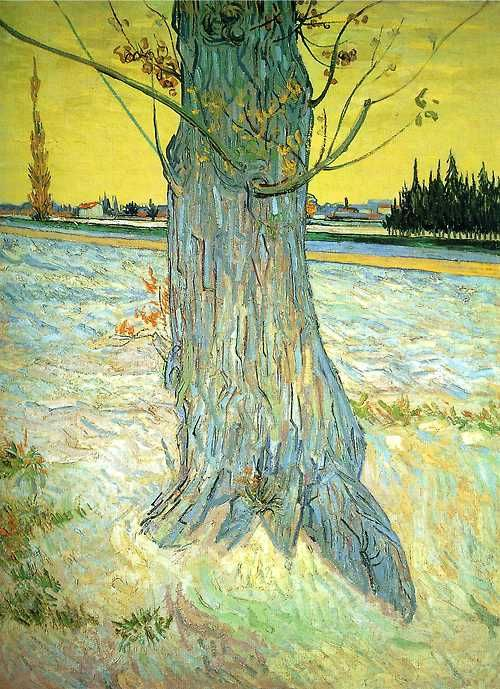 Vincent van Gogh, Trunk of an Old Yew Tree (1888), oil on canvas. Collection of Helly Nahmad Gallery, London, UK. Via WikiPaintings.
