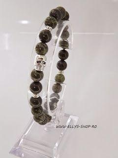 Ellys Shop: Brățară unisex realizată cu pietre green lace de 8...