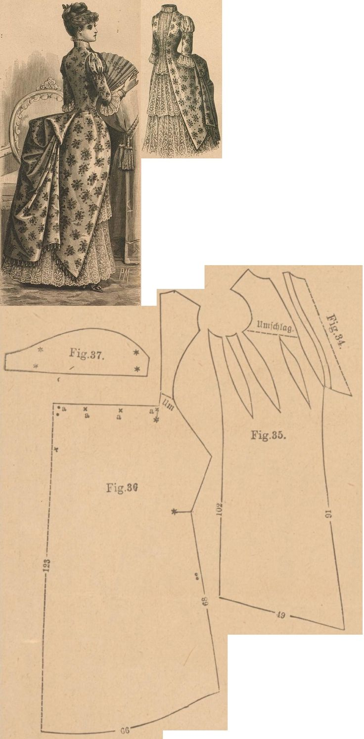 Der Bazar 1888: Evening dress from bengaline and lace; 34. plastron's lining in half size, 35. overdress' front part, 36. back part in half size, 37. sleeve's pouffy upper part