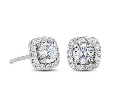 Cushion Halo Diamond Stud Earrings – ESR8741ADD4…