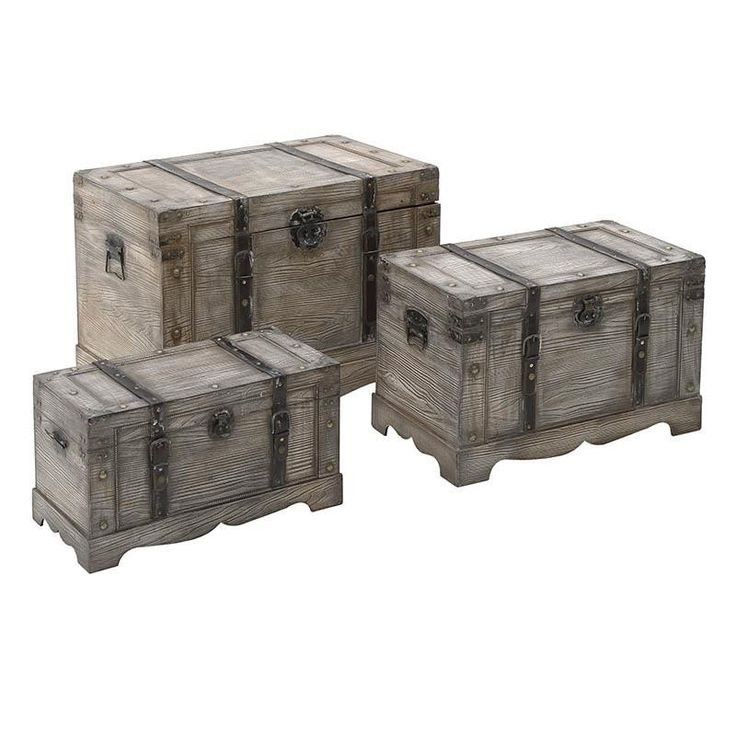 Wooden Trunk Set Of 3 Pieces - Chests - FURNITURE - inart