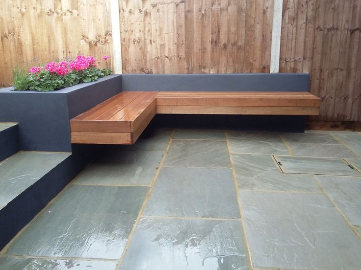 floating bench raised grey painted beds garden design london clapham battersea dulwich