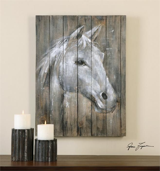 Painted horse on old barn wood
