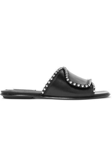 Alexander Wang's 'Leidy' slides Slight heel Black leather Velcro®-fastening strap