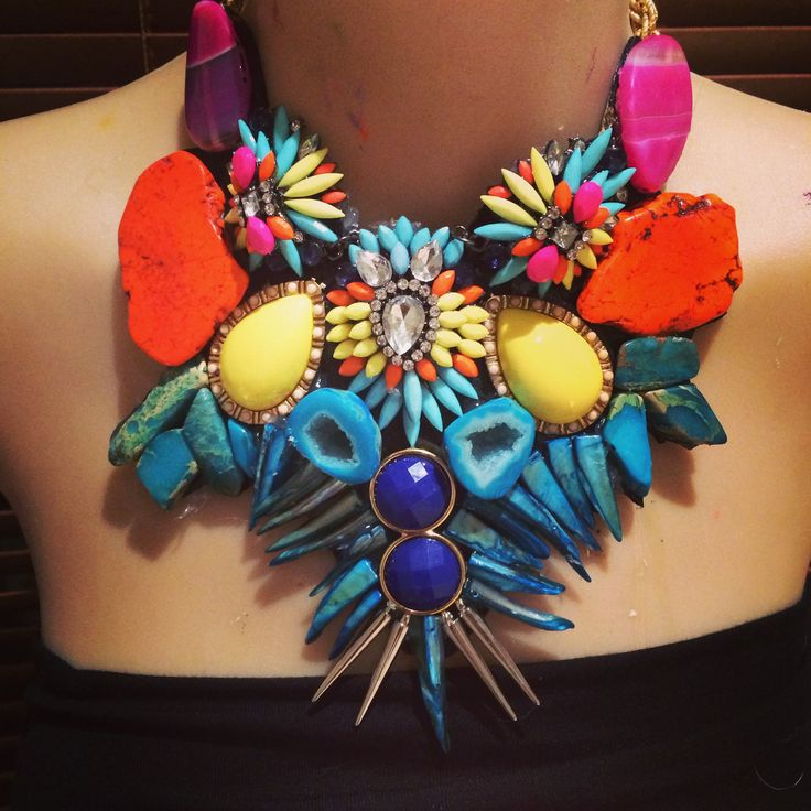 """SOLD- a bright bohemian bib- agate, magnesite, upcycled vintage 'junque"""""""
