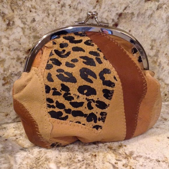 Little Leather Leopard Clutch⚡️REDUCED ⚡️ Cute little Clutch is Genuine Leather,Clean inside & out,never used! Unknown Bags