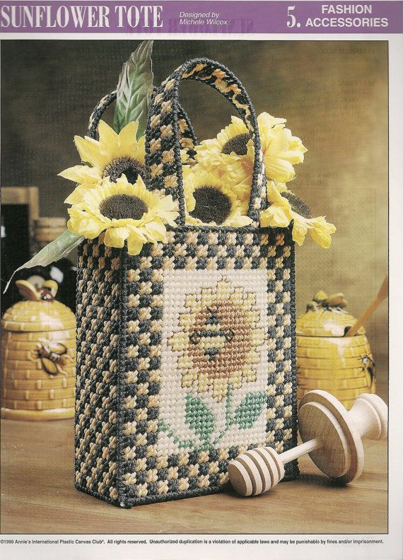 images of plastic canvas tote bag patterns   Sunflower Tote Bag Plastic Canvas Pattern by needlecraftsupershop Sorry no pattern available, this is for inspiration only