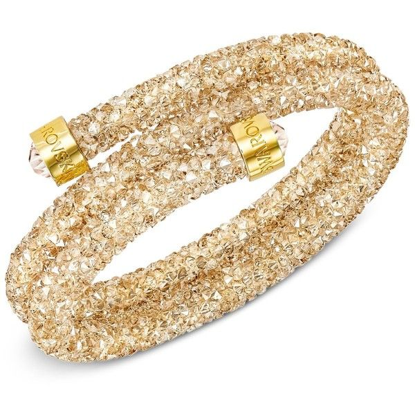 Swarovski Crystaldust Wrap Bracelet (£70) ❤ liked on Polyvore featuring jewelry, bracelets, gold, swarovski jewellery, gold tone jewelry, gold jewelry, yellow gold jewelry and gold bangles