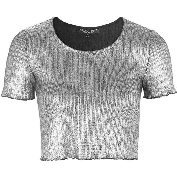 TopShop Petite Metalic Frill Tee ($12) ❤ liked on Polyvore featuring tops, t-shirts, crop tops, shirts, silver, metallic shirt, t shirts, crop t shirt, ribbed t shirt and metallic crop top