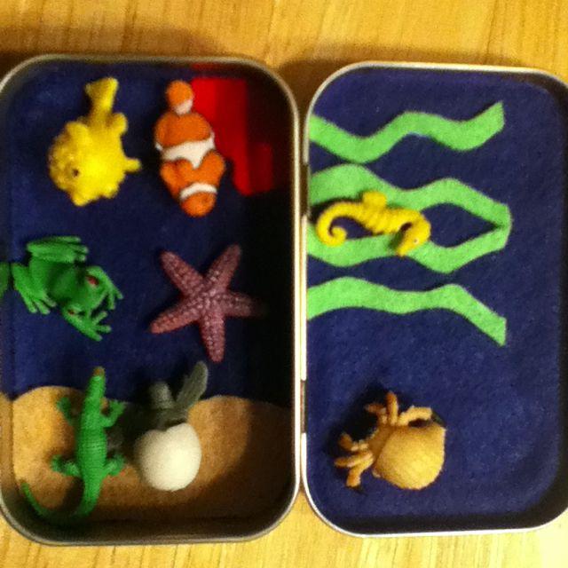 Tiny play set in mint tin to take to restaurants, etc.