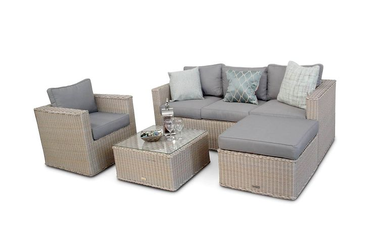The Bahamas Small Rattan Garden Sofa set with its chunky design is ideal for small patios. It features a 3 seater sofa bench, 2 ottomans and an armchair which allow the set to be used as small corner sofa set or a mini conversation sofa set. Whether entertaining, or just relaxing, it's a set that will make any garden a second living-room.<br />  The Bahamas sofa set is beautifully crafted furniture with high grade PE extra wide resin rattan woven over a rust proof aluminium frame and…