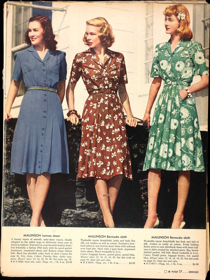 U.S. Sears catalog 1943 vintage fashion day dress 40s green brown blue floral rayon color photo print ad catalogue war era WWII hairstyle