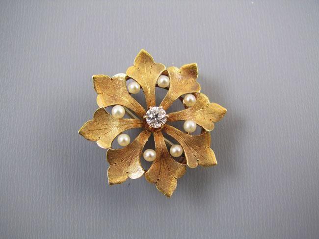 Antique Edwardian 14k gold .12 carat diamond seed pearl textured leaf pin brooch…