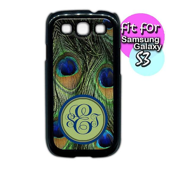 peacock feather personalized monogram case for samsung by etbay, $12.99