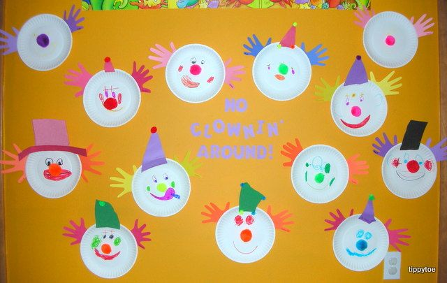 Circus Bulletin Board Ideas | We made circus clowns today! We started with a paper plate. We used ...