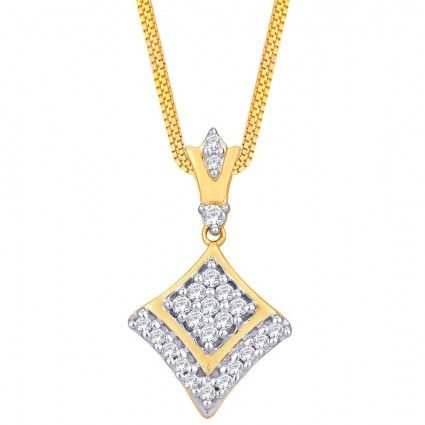 RIVAAZ GOLD PENDANT RZP00059_22KT Stunning Pendant from Rivaaz dazzling with 23 diamonds crafted in 22KT Height : 22.46 MM Width : 12.82 MM Metal Type : Gold Gender : Women Diamond Quality : Signity CZ Diamond Pcs : 23