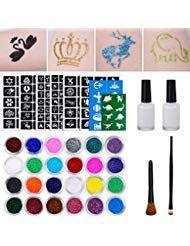Glitter Tattoo Set Temporäre Tattoos mit 151 Schablonen 24 Glitter Powder 2 Ski… – Trend Frauen Haarfärbemittel