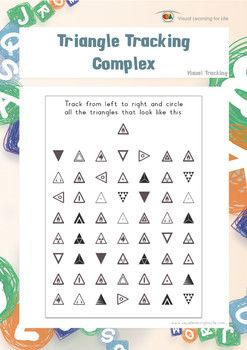 """In the """"Triangle Tracking Complex"""" worksheets, the student must find all the triangles that look the same as the example at the top of the page.  Available at www.visuallearningforlife.com on the Visual Tracking Skills Builder CD."""