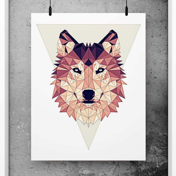 Wolf Poster Geometric Art Red wall decor Minimalist by PFposters