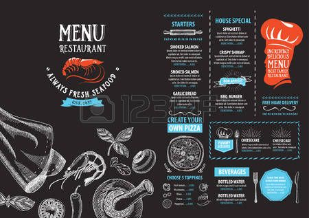 cafe logo: Меню ресторана кафе, дизайн шаблона. Еда флаер. Иллюстрация