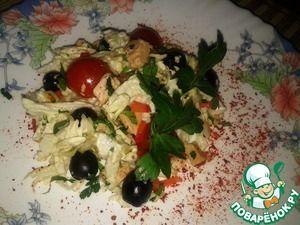 Салат из китайской капусты с печенью трески - кулинарный рецепт
