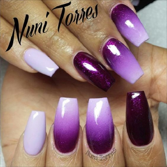 The Purple Coffin Nails with Ombre White. If you haven't tried any ombre nail art with coffin nails, definitely you have to.