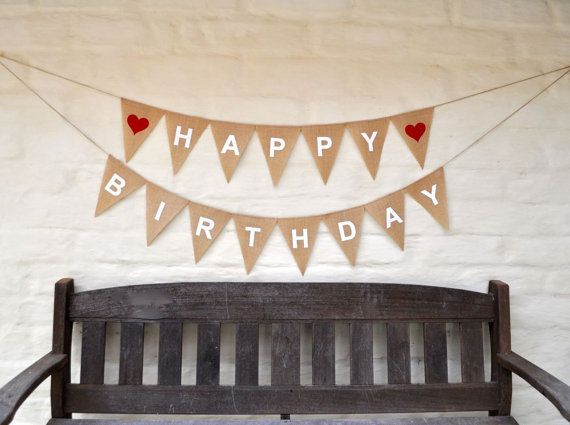Perfect for a special birthday party photo prop.  16 LARGE hessian flags, screen printed and spelling:  (heart)HAPPY(heart) Length from flag