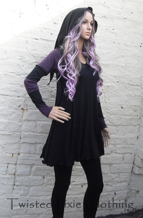 Pixie Hooded Stripy Dress Gothic Hippy by TwistedPixieClothing