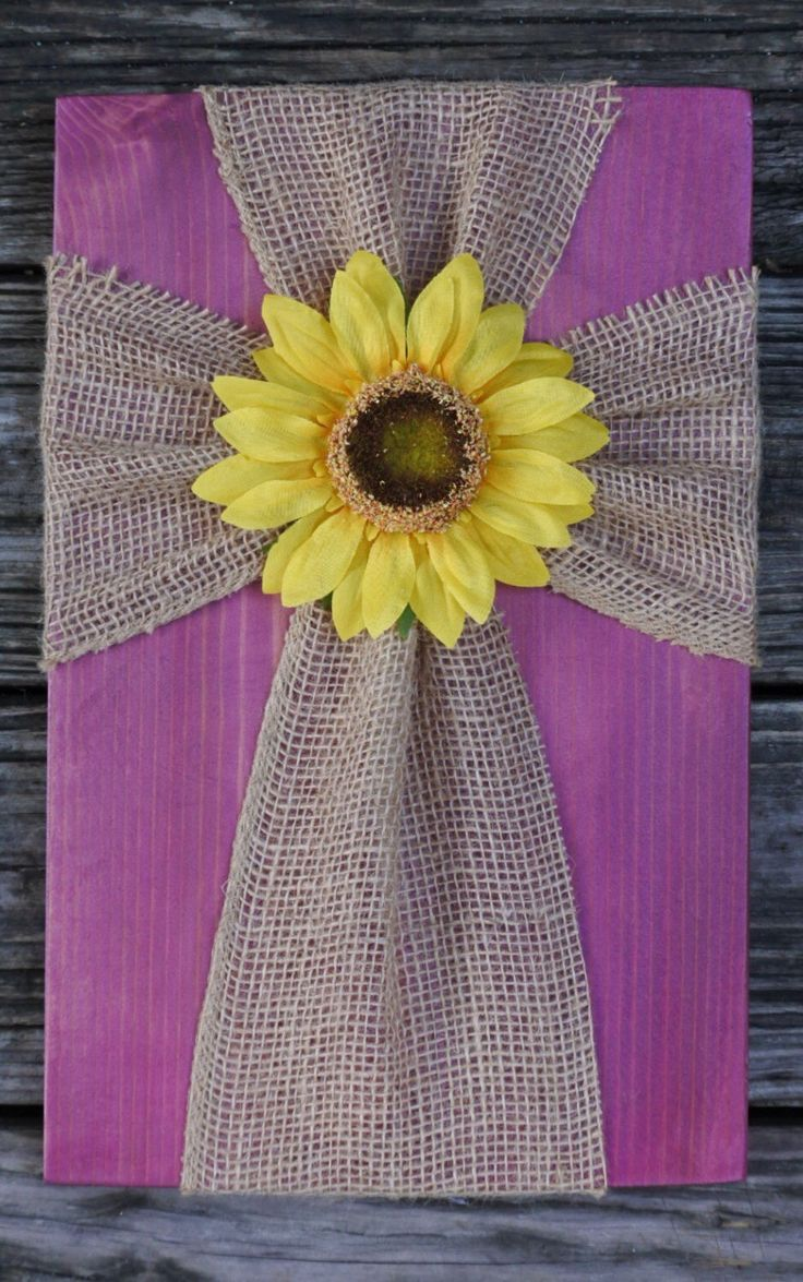 Burlap cross on wood, fabric cross on wood, sunflower cross decor, sunflower decor, purple cross decor, hanging cross decor, sunflower by SleepCreateRepeat on Etsy https://www.etsy.com/listing/458644672/burlap-cross-on-wood-fabric-cross-on