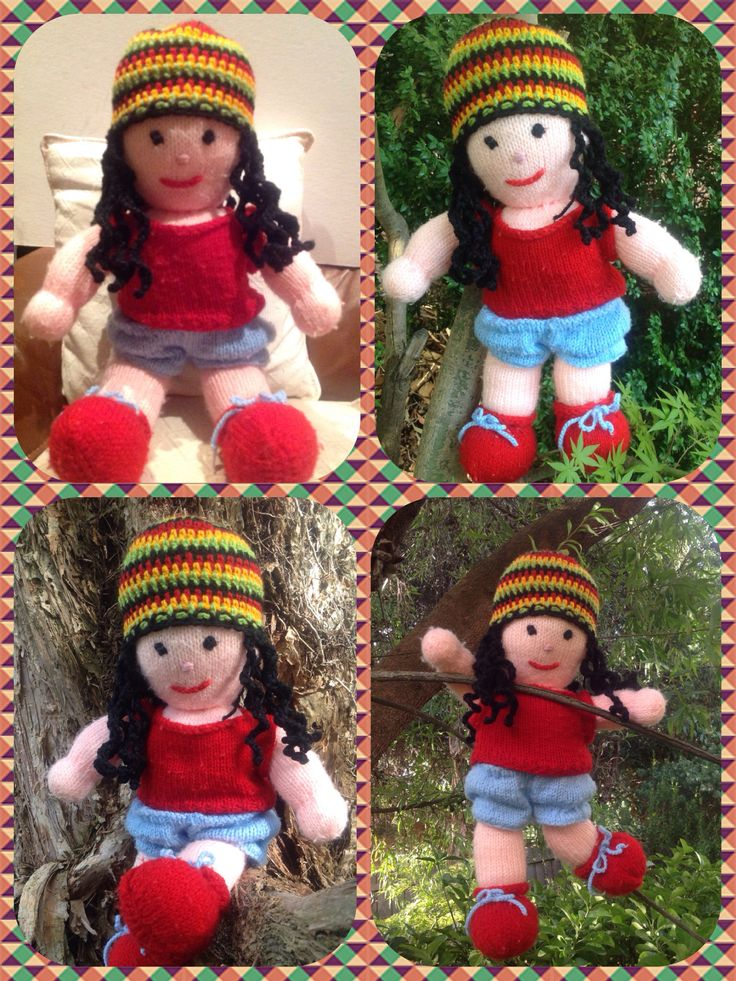 Crochet Rasta hat with dreads modelled by knitted doll