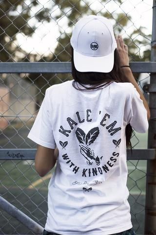 PLANT FACED CLOTHING: T-Shirts - Kale 'Em With Kindness Tee - White - 100% Organic Cotton T-Shirt, Vegan Clothing