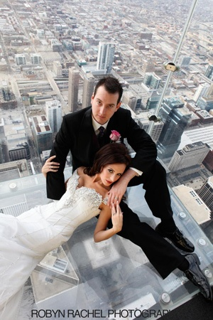 Awesome Wedding Pic! : ) (Taken @ Willis Tower overlooking Chicago)